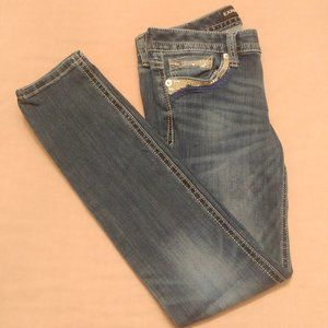 LIKE NEW Skinny Low Rise Embellished Blue Jeans